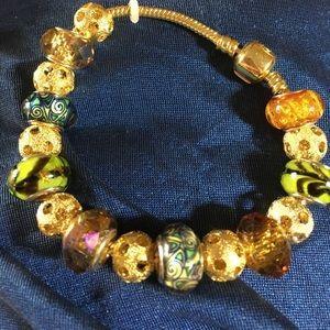 Jewelry - MURANO GLASS/TIBETAN SILVER ADJUSTABLE BRACELET